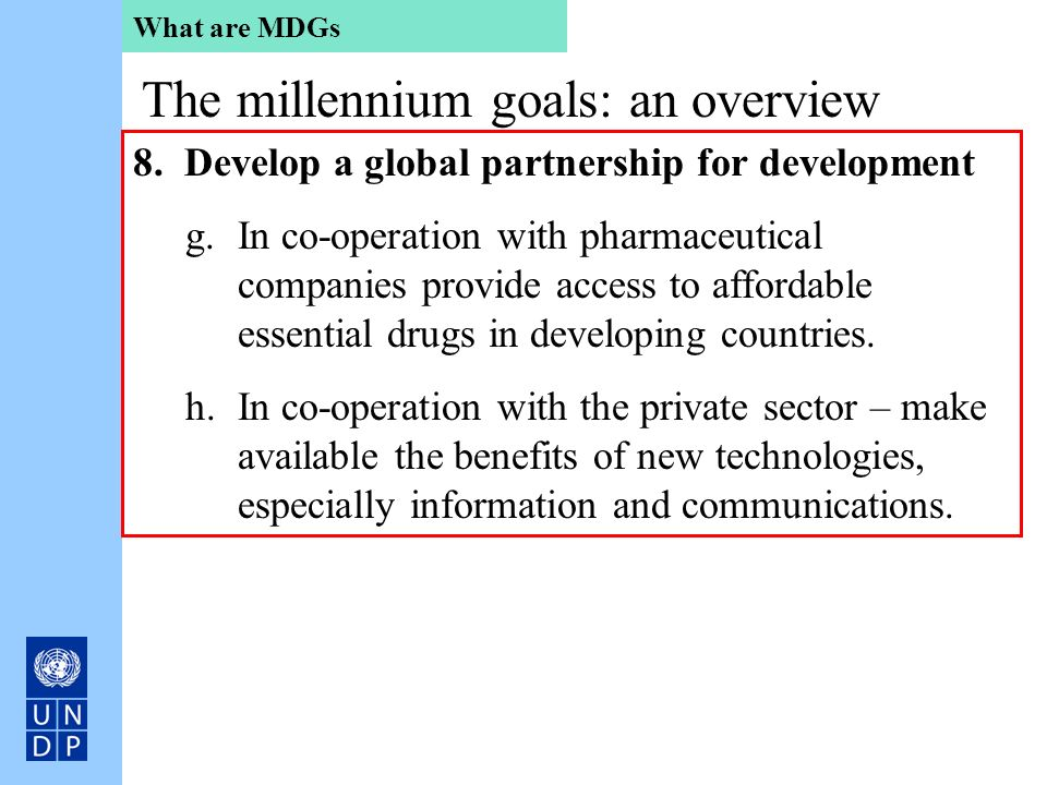 The millennium goals: an overview