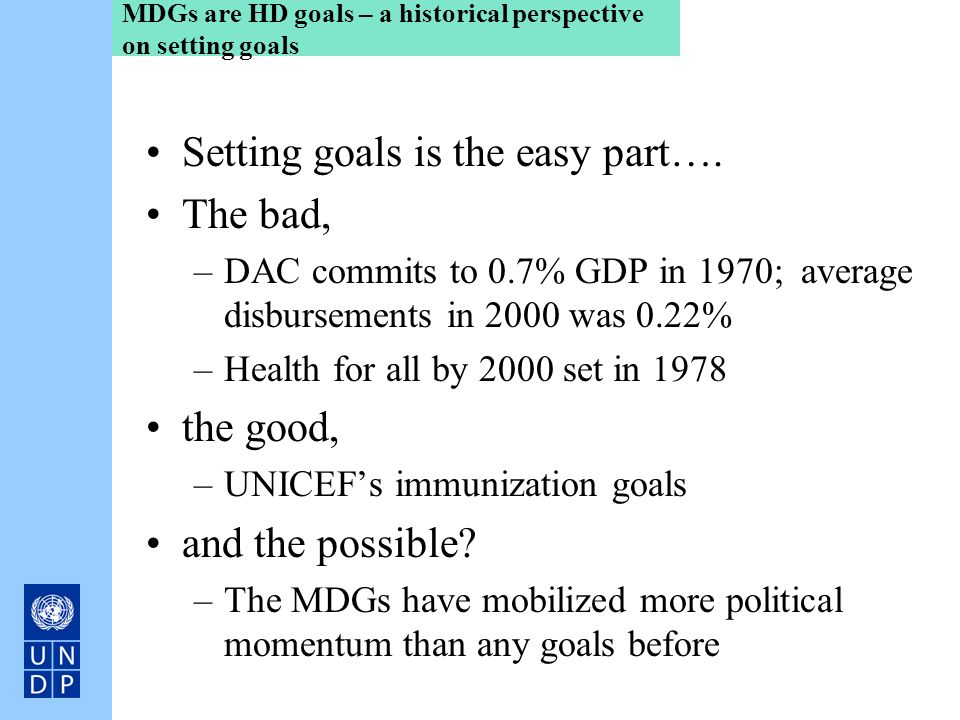 MDGs are HD goals – a historical perspective on setting goals
