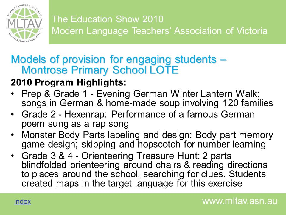 Models of provision for engaging students – Montrose Primary School LOTE