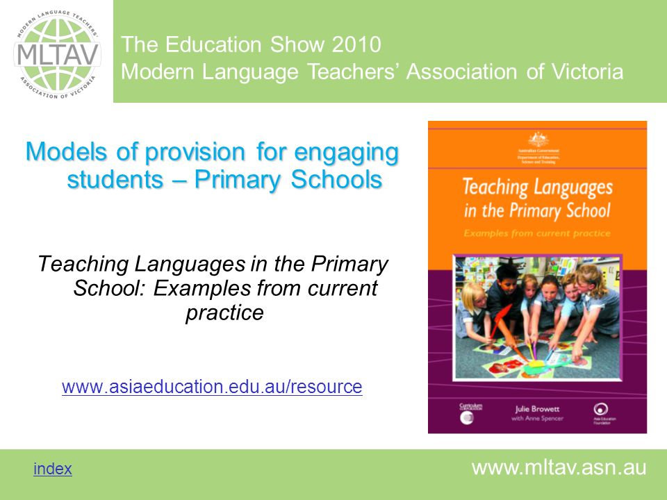 Models of provision for engaging students – Primary Schools