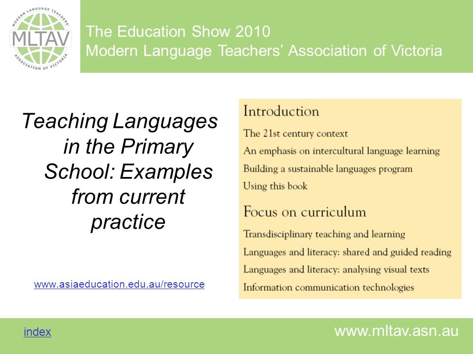Teaching Languages in the Primary School: Examples from current practice