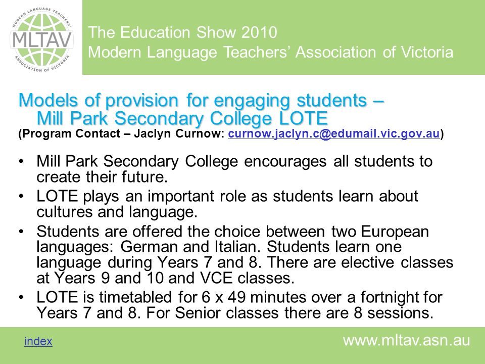 Models of provision for engaging students – Mill Park Secondary College LOTE