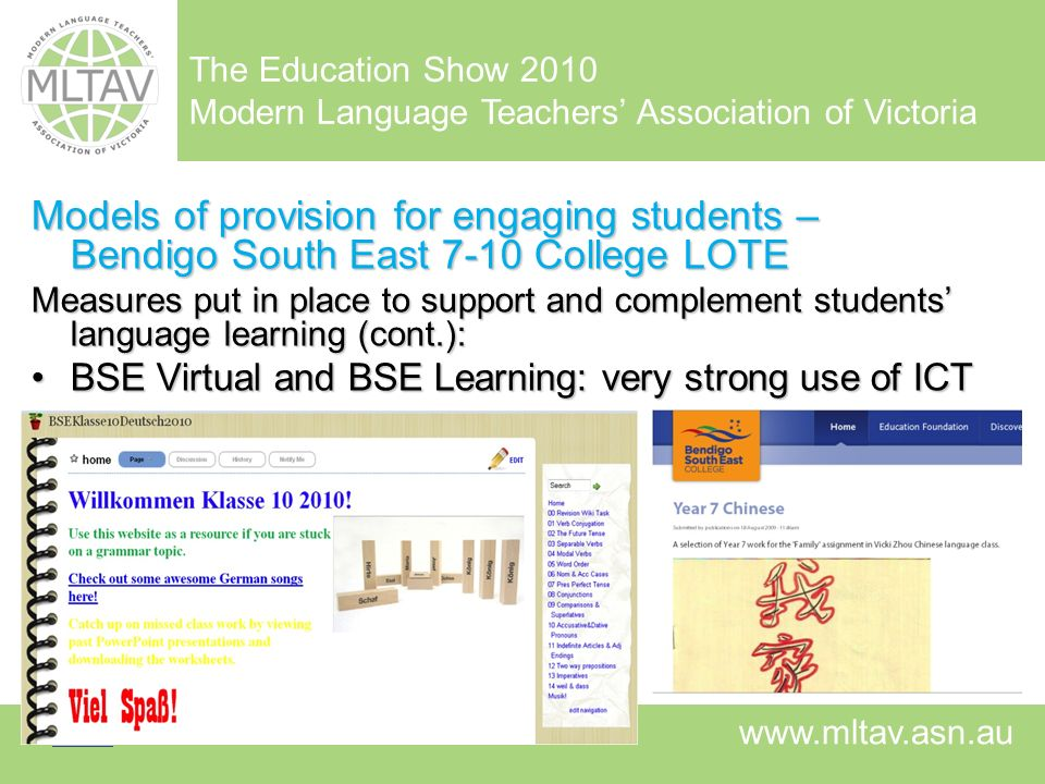 Models of provision for engaging students – Bendigo South East 7-10 College LOTE