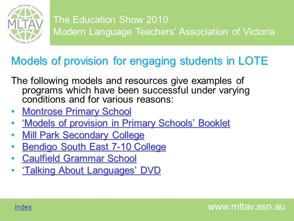 Models of provision for engaging students in LOTE