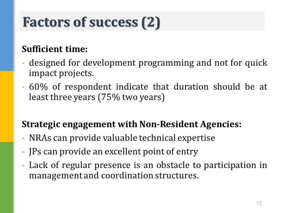 Factors of success (2) Sufficient time: