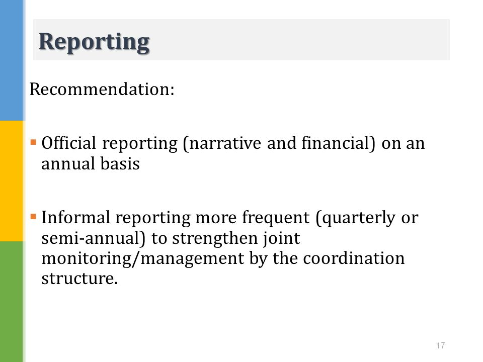 Reporting Recommendation: