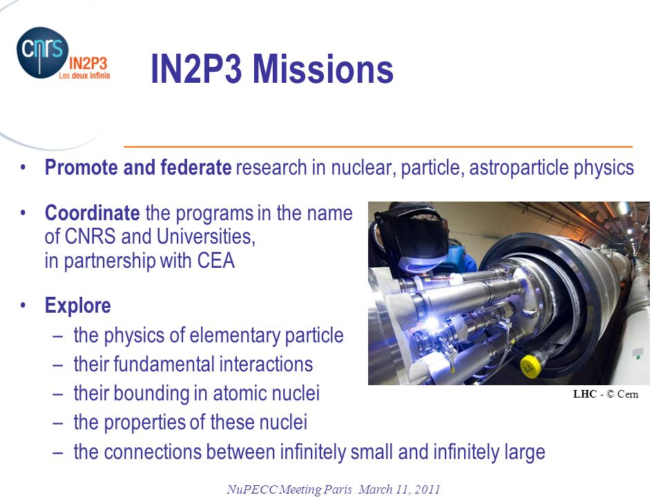 IN2P3 Missions Promote and federate research in nuclear, particle, astroparticle physics.