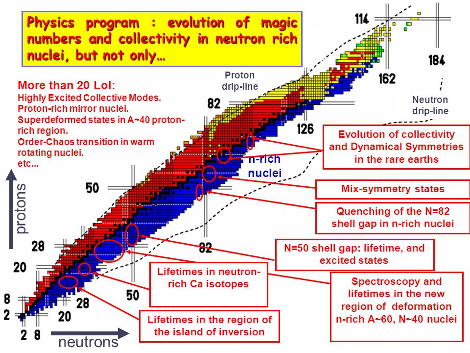 Physics program : evolution of magic numbers and collectivity in neutron rich nuclei, but not only…