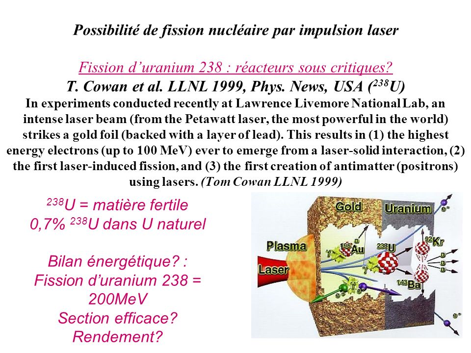 Possibilité de fission nucléaire par impulsion laser Fission d'uranium 238 : réacteurs sous critiques T. Cowan et al. LLNL 1999, Phys. News, USA (238U) In experiments conducted recently at Lawrence Livemore National Lab, an intense laser beam (from the Petawatt laser, the most powerful in the world) strikes a gold foil (backed with a layer of lead). This results in (1) the highest energy electrons (up to 100 MeV) ever to emerge from a laser-solid interaction, (2) the first laser-induced fission, and (3) the first creation of antimatter (positrons) using lasers. (Tom Cowan LLNL 1999)