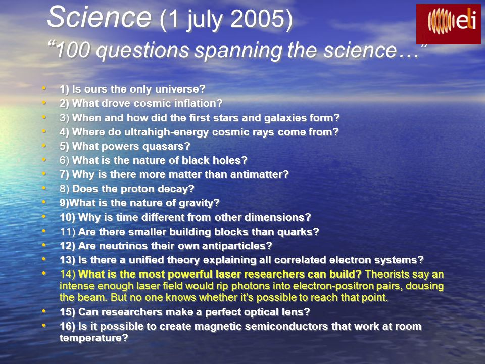 Science (1 july 2005) 100 questions spanning the science…