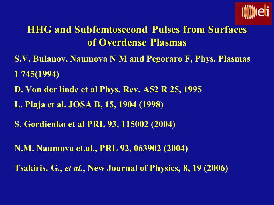 HHG and Subfemtosecond Pulses from Surfaces of Overdense Plasmas