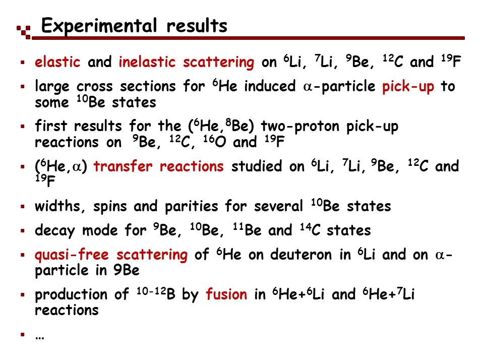 Experimental results elastic and inelastic scattering on 6Li, 7Li, 9Be, 12C and 19F.