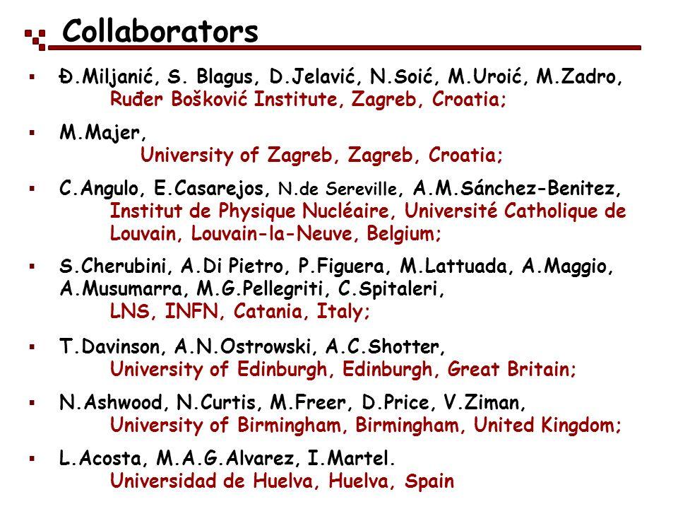Collaborators Ð.Miljanić, S. Blagus, D.Jelavić, N.Soić, M.Uroić, M.Zadro, Ruđer Bošković Institute, Zagreb, Croatia;