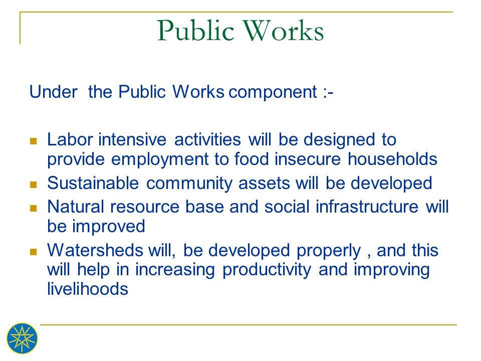 Public Works Under the Public Works component :-