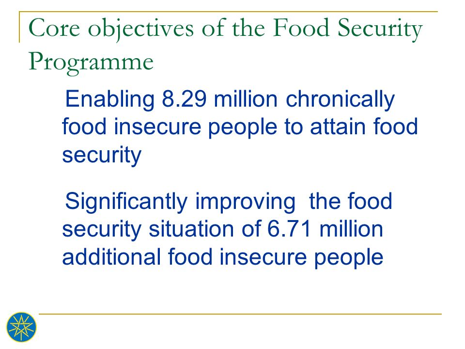 Core objectives of the Food Security Programme