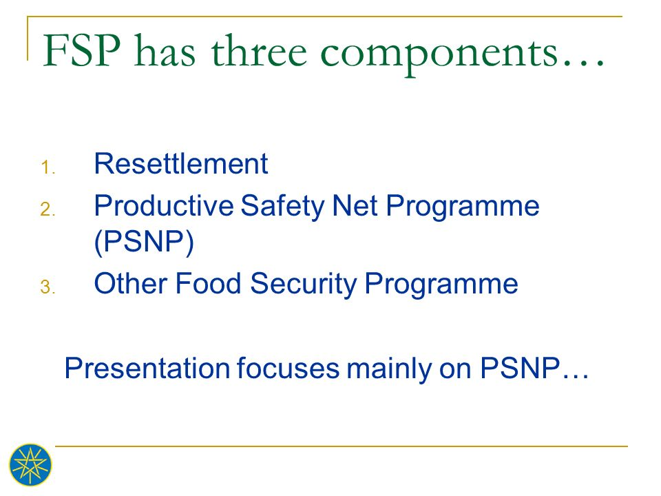 FSP has three components…