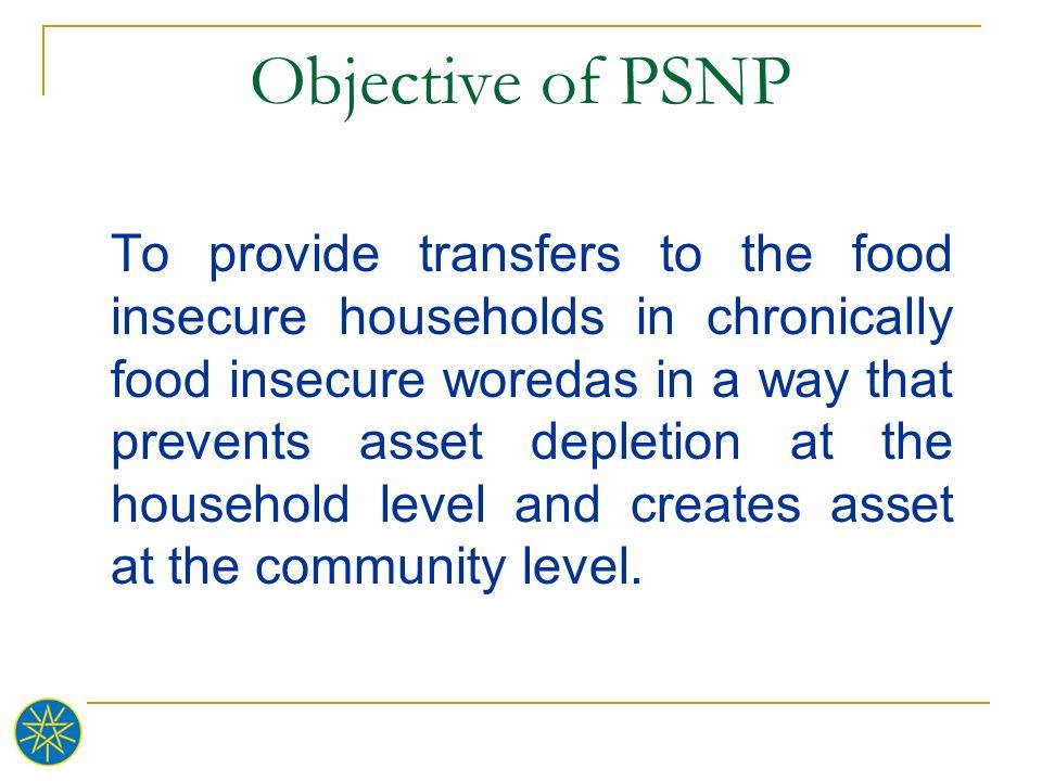 Objective of PSNP