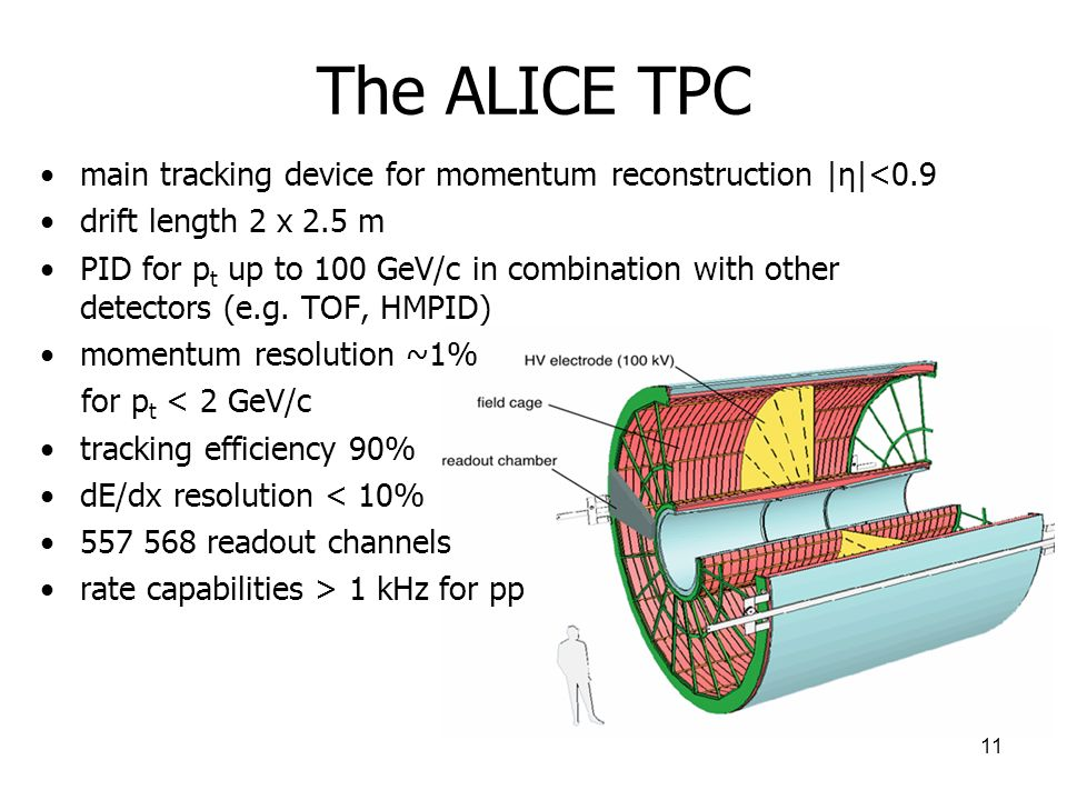 The ALICE TPC main tracking device for momentum reconstruction |η|<0.9. drift length 2 x 2.5 m.