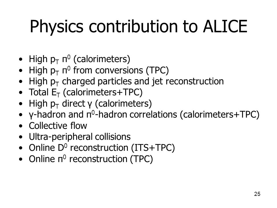 Physics contribution to ALICE
