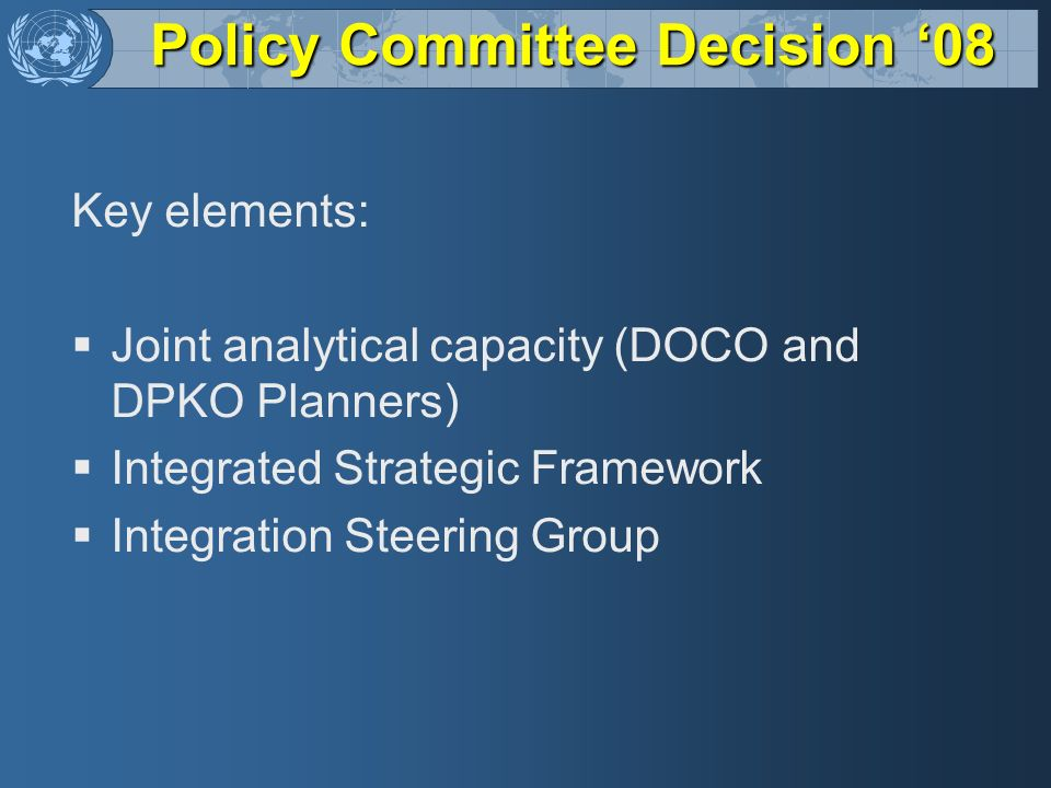 Policy Committee Decision '08