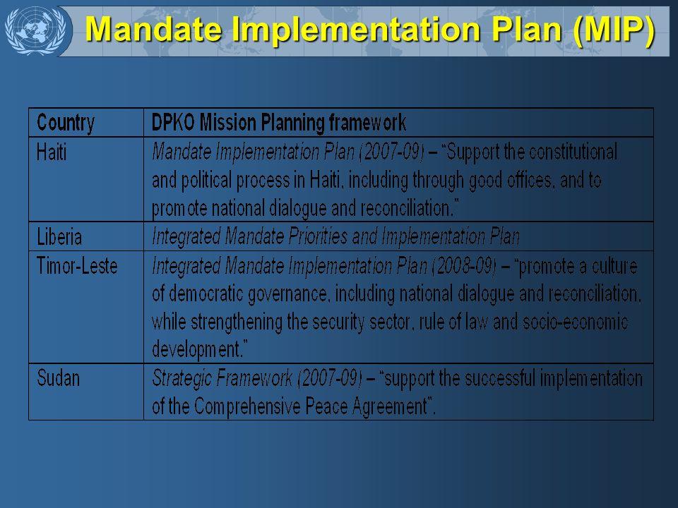 Mandate Implementation Plan (MIP)