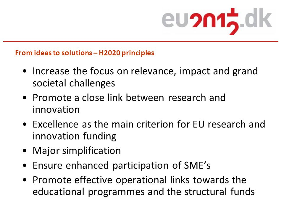From ideas to solutions – H2020 principles