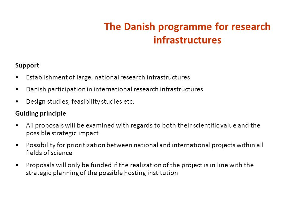 The Danish programme for research infrastructures