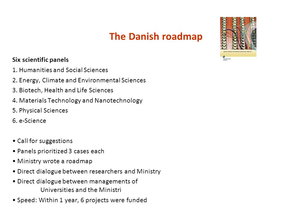The Danish roadmap Six scientific panels