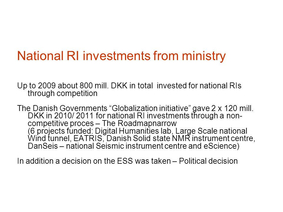 National RI investments from ministry