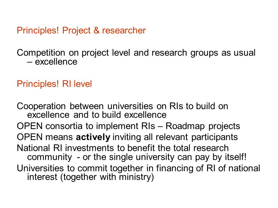 Principles! Project & researcher
