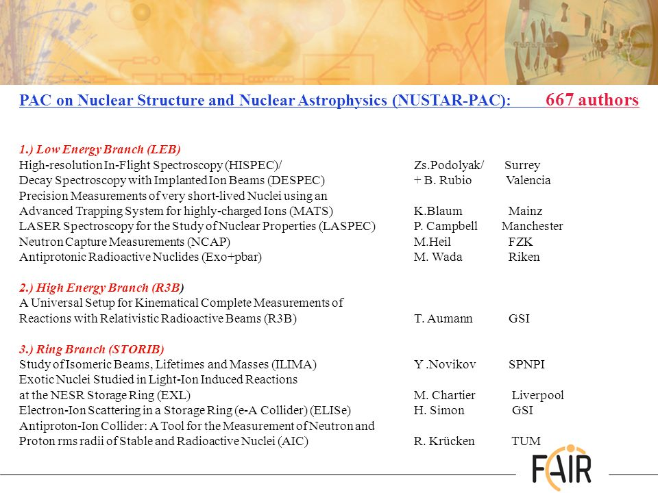 PAC on Nuclear Structure and Nuclear Astrophysics (NUSTAR-PAC): 667 authors