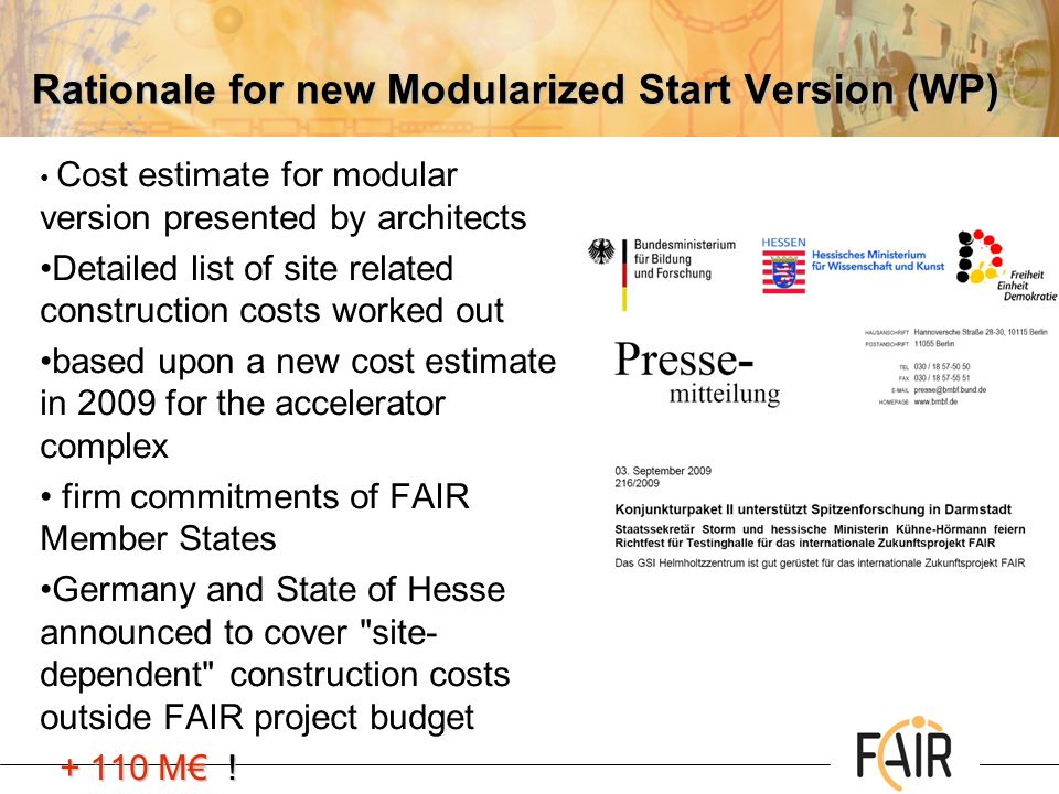 Rationale for new Modularized Start Version (WP)