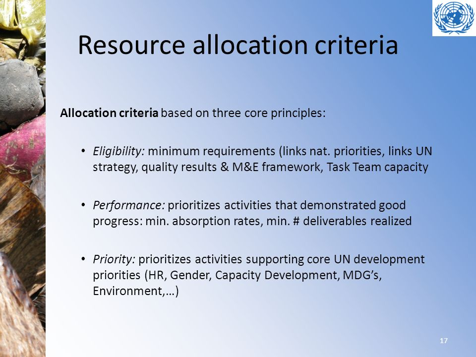 Resource allocation criteria