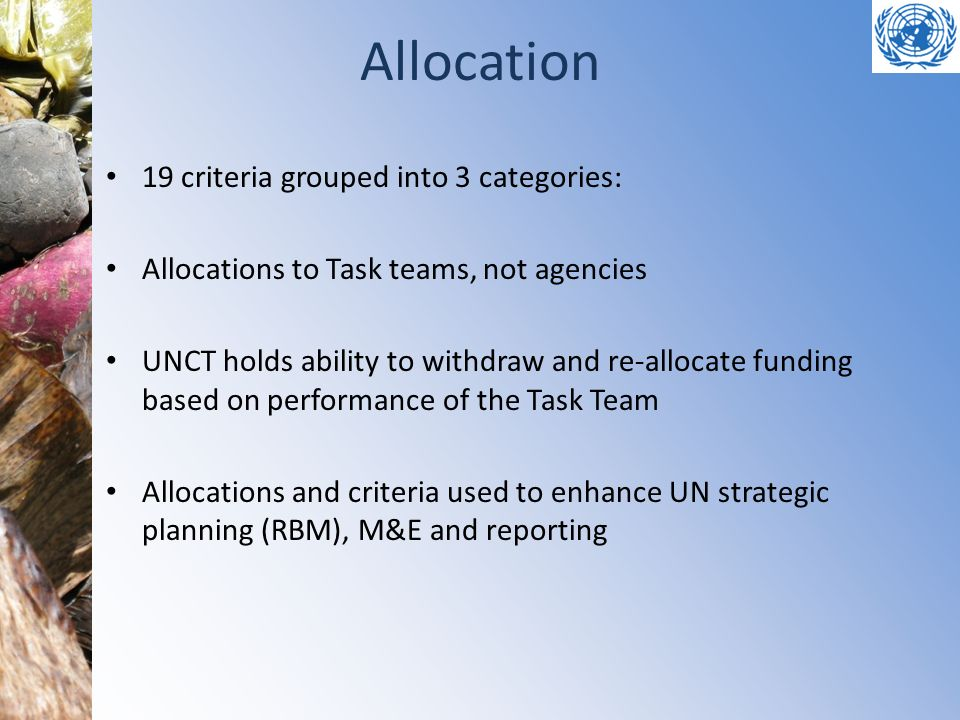 Allocation 19 criteria grouped into 3 categories:
