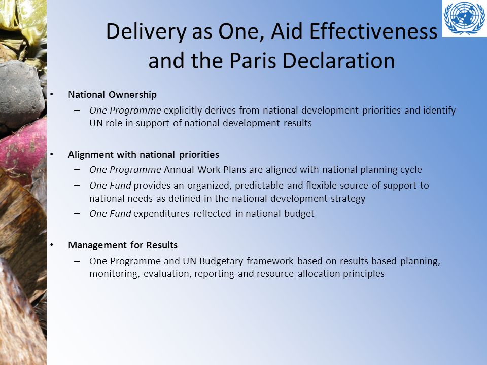 Delivery as One, Aid Effectiveness and the Paris Declaration