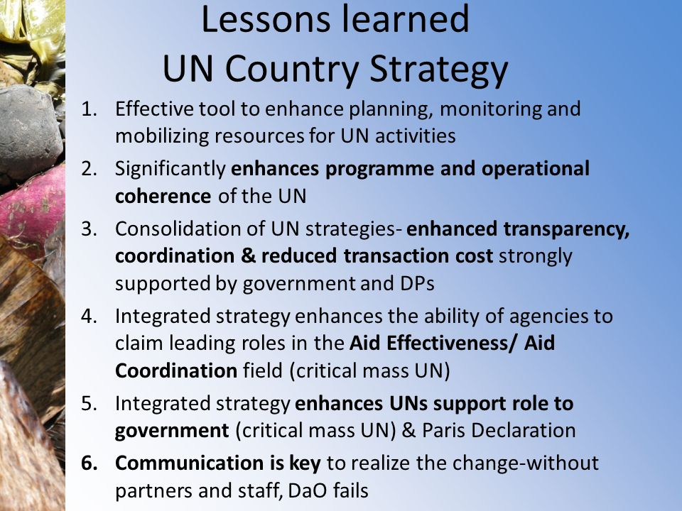 Lessons learned UN Country Strategy
