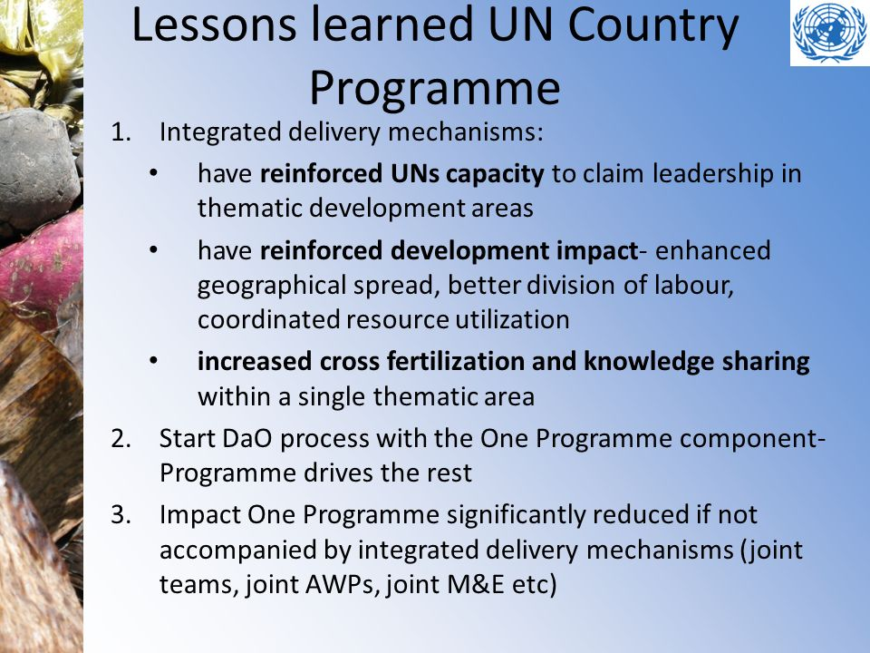 Lessons learned UN Country Programme