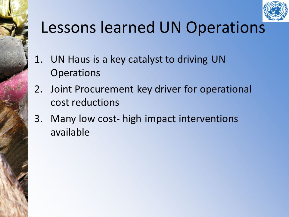 Lessons learned UN Operations