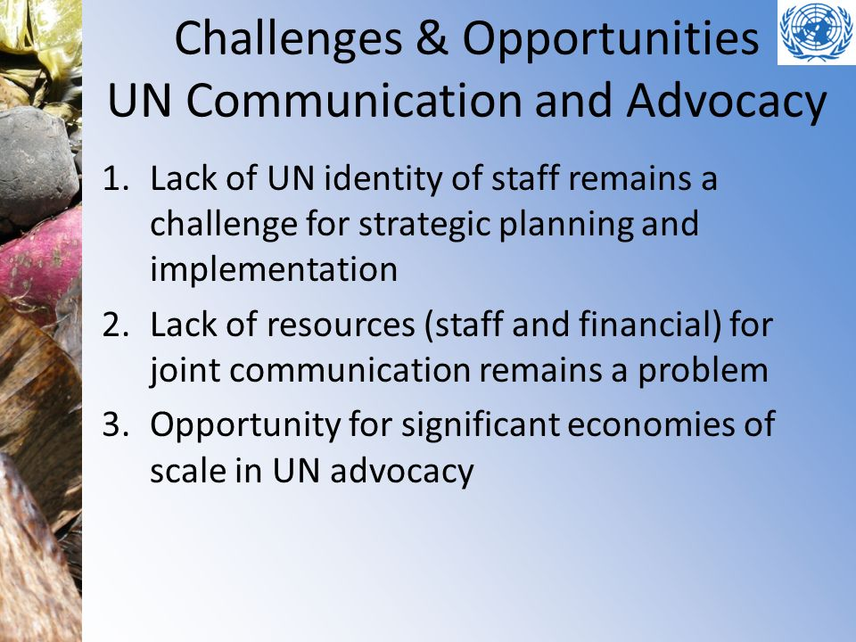 Challenges & Opportunities UN Communication and Advocacy