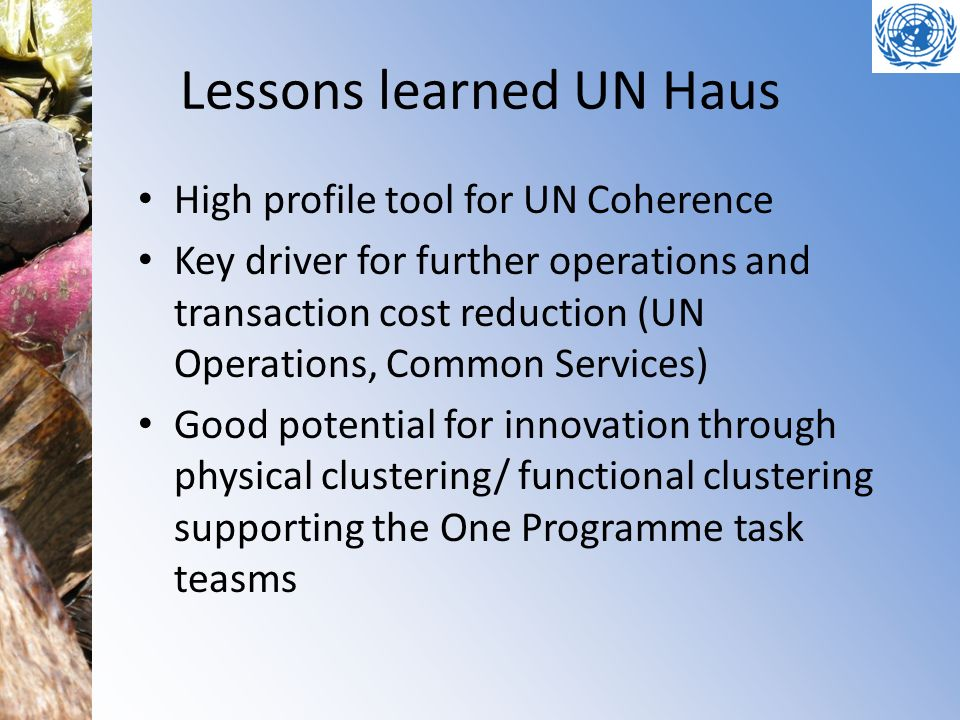 Lessons learned UN Haus