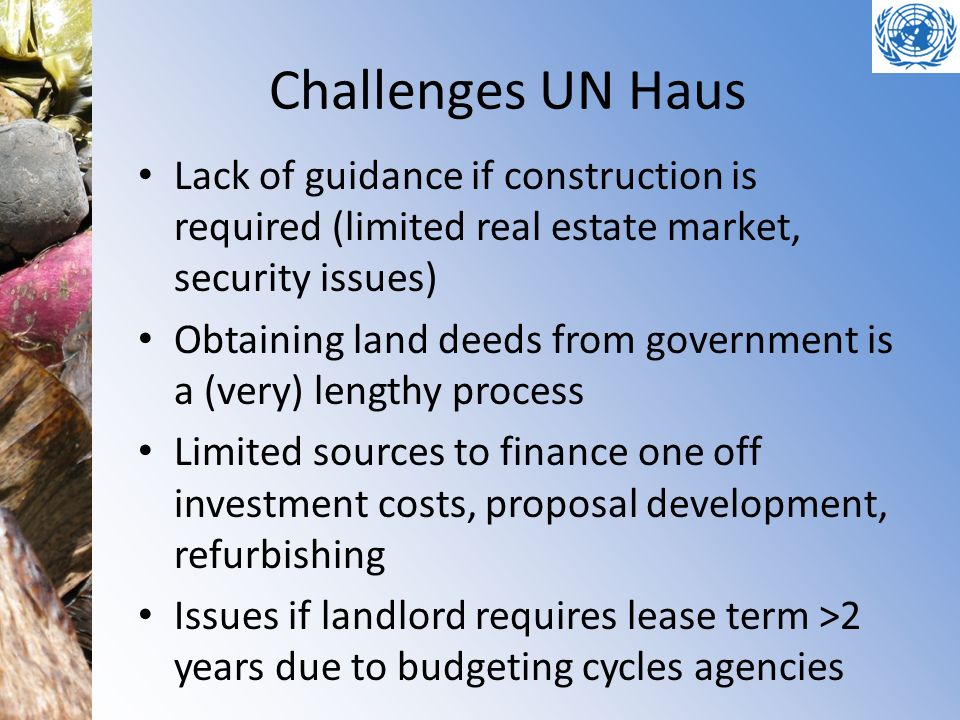 Challenges UN Haus Lack of guidance if construction is required (limited real estate market, security issues)