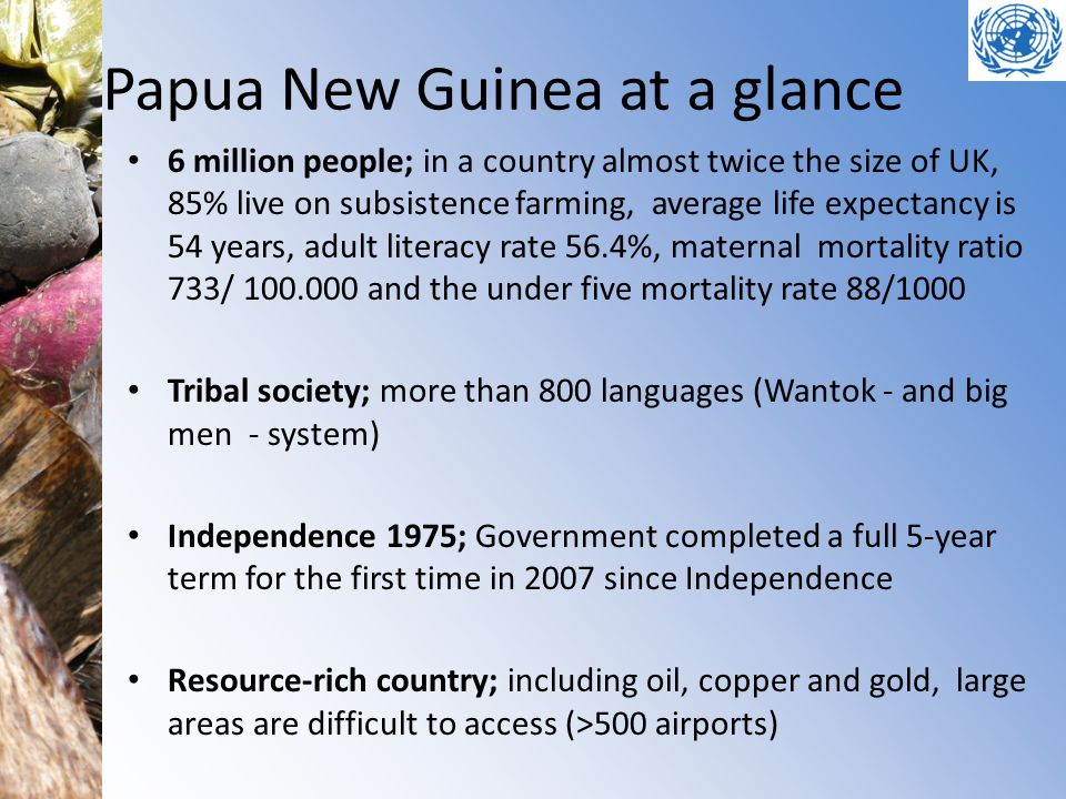 Papua New Guinea at a glance