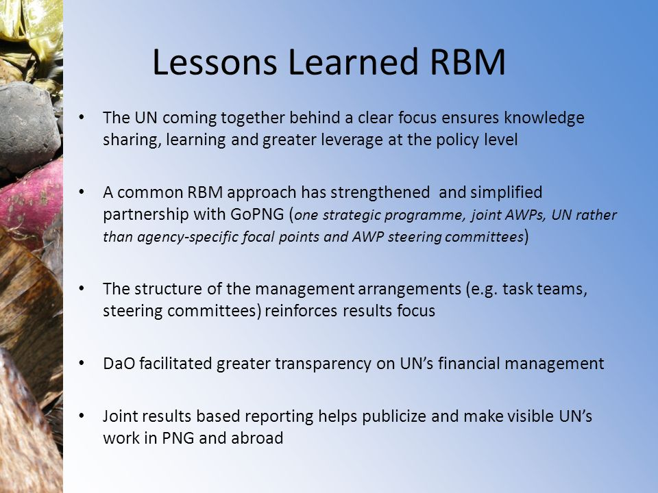 Lessons Learned RBM The UN coming together behind a clear focus ensures knowledge sharing, learning and greater leverage at the policy level.