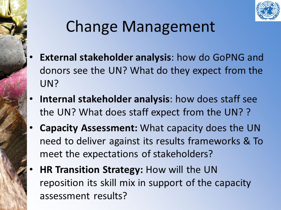Change Management External stakeholder analysis: how do GoPNG and donors see the UN What do they expect from the UN