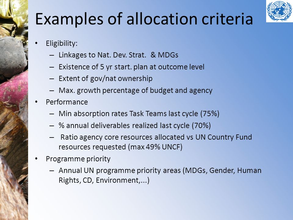 Examples of allocation criteria