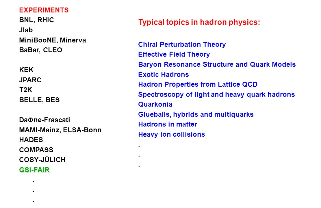 Typical topics in hadron physics: