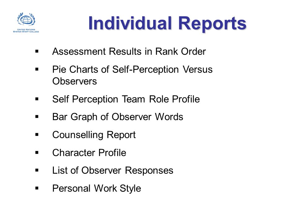 Individual Reports Assessment Results in Rank Order