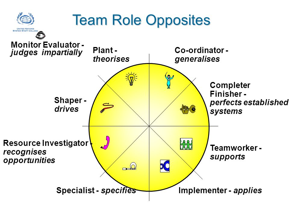 Team Role Opposites Monitor Evaluator - judges impartially Plant -