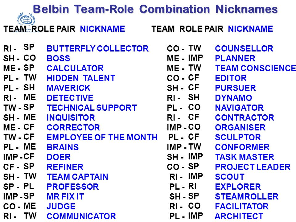 Belbin Team-Role Combination Nicknames