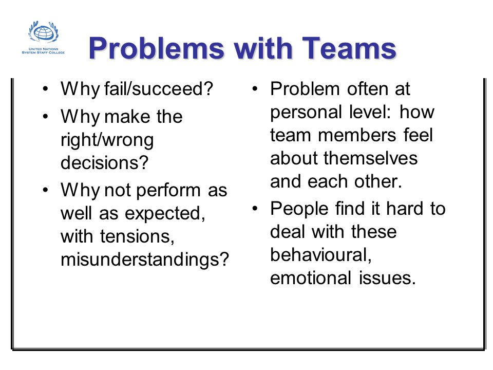 Problems with Teams Why fail/succeed
